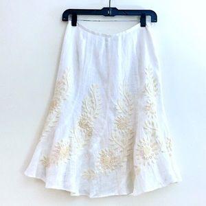 Lafayette 148 Embroidered Linen Skirt
